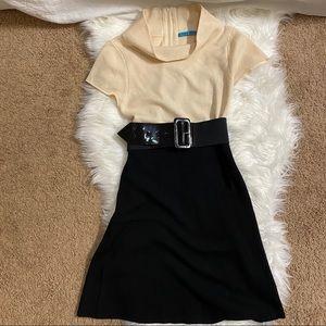 Alice+ Olivia black and cream belted mini dress